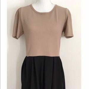 LuLaRoe Black and Tan Amelie Dress Size S